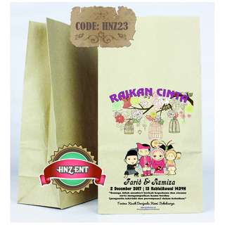 Personalized Paper bag Bercetak untuk Majlis Perkahwinan HNZ23 100pcs 1 pack