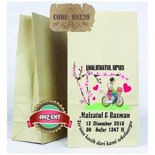 Personalized Paper bag Bercetak untuk Majlis Perkahwinan HNZ20 100pcs 1 pack