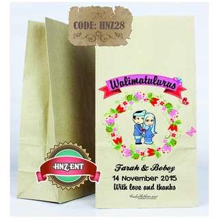 Personalized Paper bag Bercetak untuk Majlis Perkahwinan HNZ28 100pcs 1 pack