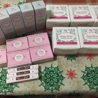 jinju white soap,toner wt serum,sleeping mask,lip&cheek tint