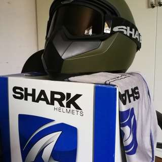 [BUNDLE DEAL] SHARK VANCORE Mat (Olive Green) + SHARK RAW BLANK Mat (Black) - (Size L) | Motorcycle Helmet