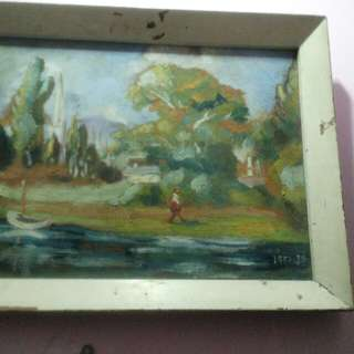 painting on canvas with old frame