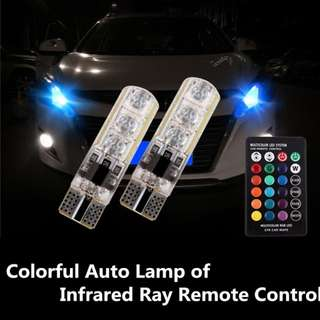 T10 Bulb [1Pair] COLORFUL CAR AUTO LAMP OF INFRARED RAY REMOTE CONTROL