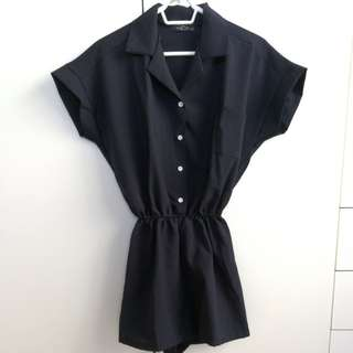 Cute Navy Button-design playsuit