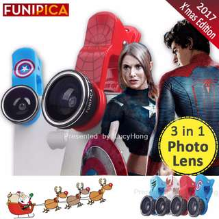 FUNIPICA 3in1 Universal Clip Mobile Phone Lens Lanthanide Optics Glass Spiderman Hero XMAS F501 Lite (SPIDERMAN) FUNIPICA 3in1 Universal Clip Mobile Phone Lens Lanthanide Optics Glass Spiderman Hero XMAS F501 Lite (XMAS TREE)