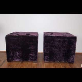Purple Velvet side chairs / tables