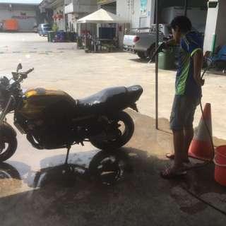 Motorcycle foam wash & Detailing