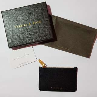 Authentic Charles & Keith black mini wallet/card holder/key pouch