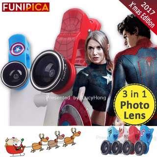 FUNIPICA 3in1 Universal Clip Mobile Phone Lens Lanthanide Optics Glass Spiderman Hero XMAS F501 Lite (SPIDERMAN)