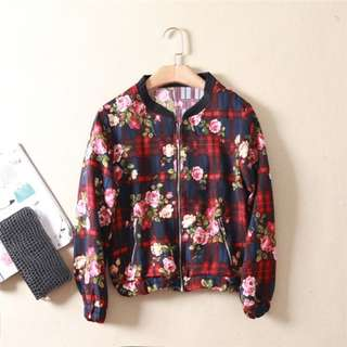 [INSTOCKS] Ladies Red Floral Checkered Jacket