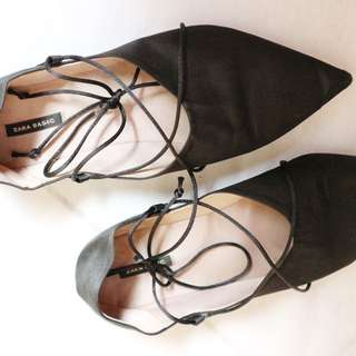 Zara Lace Up Flat Satin Shoe