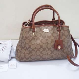 Coach Authentic Margot small caryall satchel bag saddle brown tas asli original