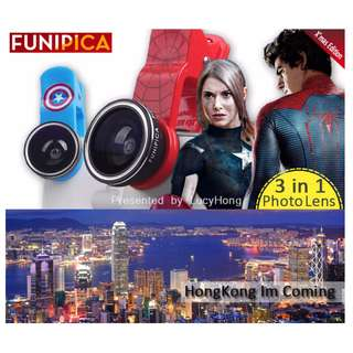 FUNIPICA 3in1 Universal Clip Mobile Phone Lens Lanthanide Optics Glass Spiderman Hero XMAS F503 PRO (HERO)