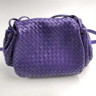 BV 羊皮紫色索繩斜咩/側咩袋