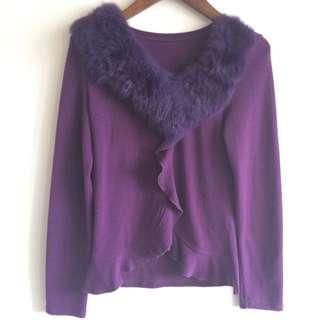 🚚 紫色毛領長袖上衣👕