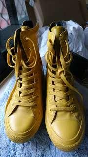 急售!Converse/all star 高筒鞋 皮 黃 24.5cm