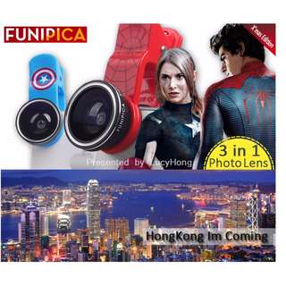 FUNIPICA 3in1 Universal Clip Mobile Phone Lens Lanthanide Optics Glass Spiderman Hero XMAS F503 PRO (XMAS TREE)