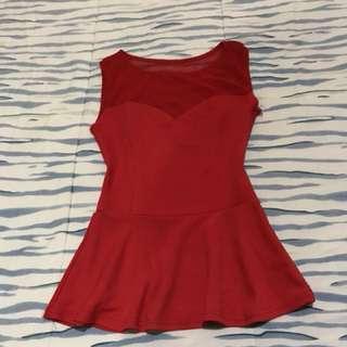 Sexy red peplum dress