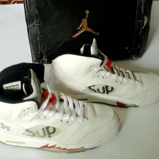 Air Jordan 5 Retro x Supreme White