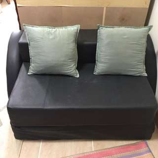 Sofa Bed Leather Black