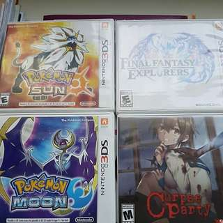 3DS Games [Pokemon Sun/Moon, Corpse party, Final Fantasy Explorers]