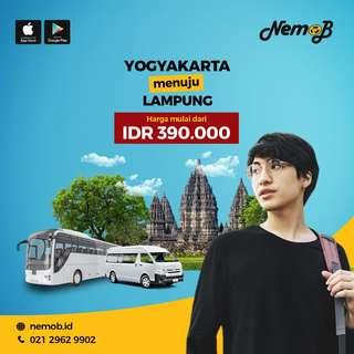 Promo tiket bus murah rute Lampung - Jogja dan sebaliknya. Hubungi NEMOB