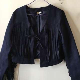 H&M Navy fringe jacket