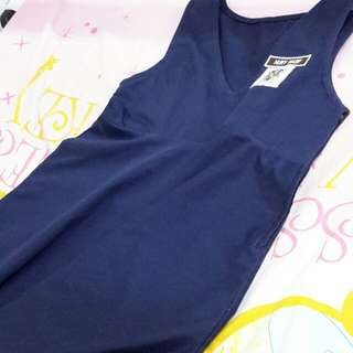 Navy Blue Dress- baju sek ren