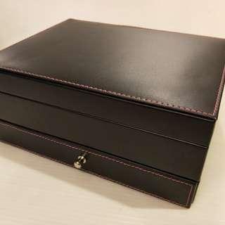 🚚 Chereaux 黑色 皮革 飾品珠寶盒