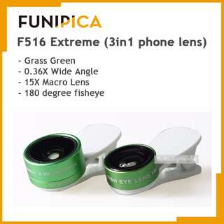 FUNIPICA 3in1 Universal Clip Mobile Phone Lens Lanthanide Optics Glass (Grass Green)