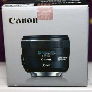 CANON LENS 35MM F2 USM WITH IMAGE STABILIZER AND LENS HOOD