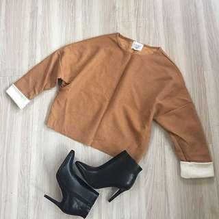 全新❤️韓貨駝色刷絨面寬鬆袖版型上衣