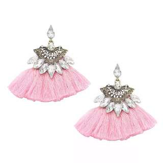 Baby Pink Tassel Fan Jewel Earrings 粉紅色扇形水晶流蘇耳環