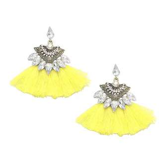 Mellow Yellow Tassel Fan Jewel Earrings 黃色色扇形水晶流蘇耳環