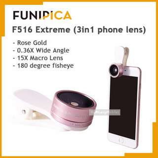 FUNIPICA 3in1 Universal Clip Mobile Phone Lens Lanthanide Optics Glass (Rose Gold)
