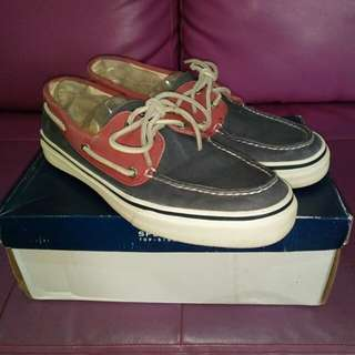 Sperry Top-Sider Men's 2-eye Bahama Navy/Red