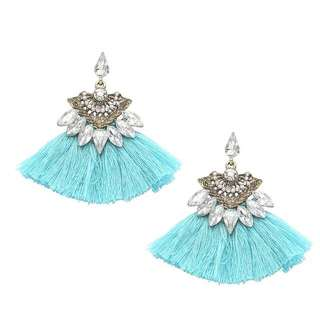 Turquoise Blue Tassel Fan Jewel Earrings 湖水藍扇形水晶流蘇耳環