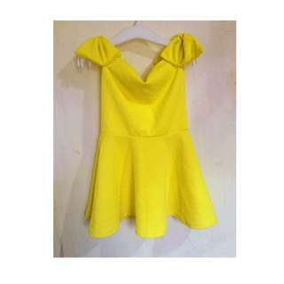 Yellow Off-Shoulder dress (Small) can fit up to 2yrs old