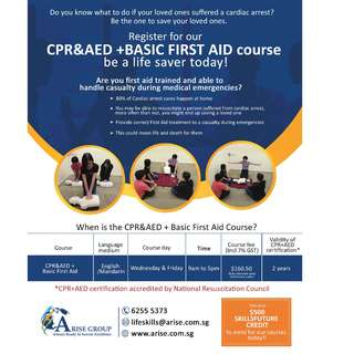 CPR&AED + BASIC FIRST AID (Can use SkillsFuture Credits to pay)