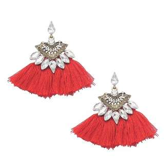 Scarlet Red Tassel Fan Jewel Earrings 紅色扇形水晶流蘇耳環