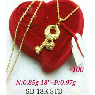 . 18K SAUDI GOLD NECKLACE & PENDANT ( LIGHT WEIGHT )