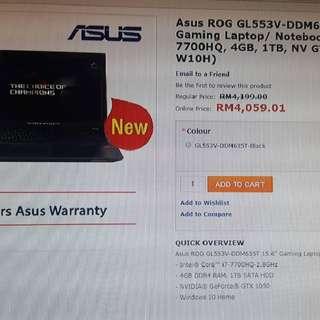 "Asus ROG Gaming Laptop GL553V 15.6"" (Brand New unbox set)"