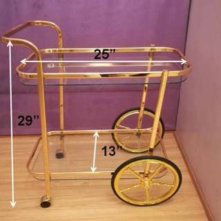 Vintage bar cart with wheels