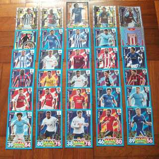 Match Attax Premier League 17/18 cards (Lot of 30 cards)