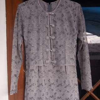 kebaya atasan + rok abu (grey)