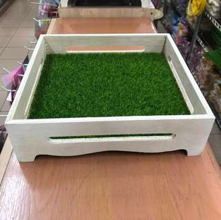 Rustic Wood Tray With Grass