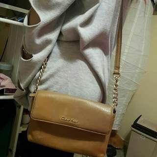 Calvin Klein brown leather side bag