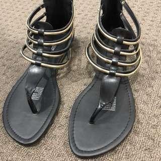 Black & Gold Flat Sandals