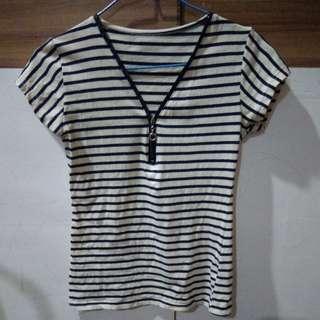 PRELOVED Stripe Zipper Blouse