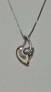 18K white gold diamond pendant with chain. (New year offer)